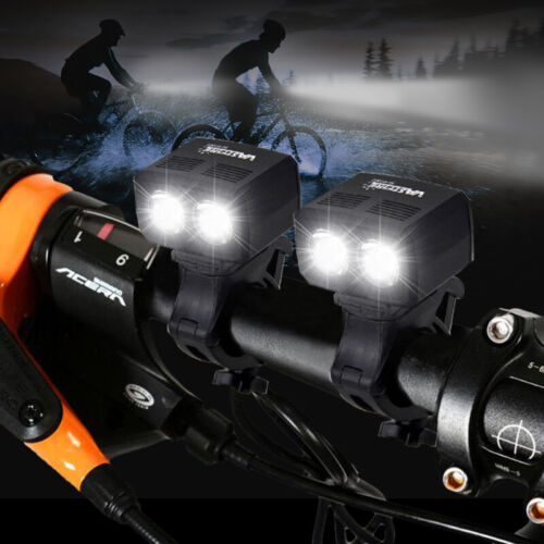 2X USB Rechargeable LED MTB Bike Bicycle Cycle Head Front Light /& Rear Tail Lamp