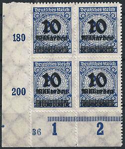 MiNr-335BP-OPD-Stuttgart-im-Viererblock-vom-Plattenunterrand-mit-PlNr-034-36-034
