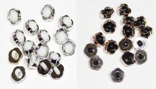 Noir Blanc Ivoire 10 x Perle Tige Dôme Bouton Taille 14 mm 3 Couleur