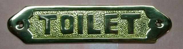 Shore House Brass Sign ~TOILET Door Plaque~ Nautical Ship Boat Beach