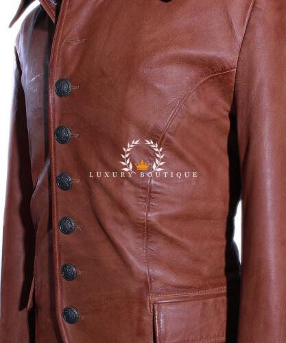 LUCIFERO Marroncino Uomo Smart Stile Gotico in Pelle Pelle di Agnello Reale Giacca Blazer Shirt