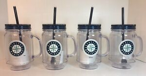 4-SEATTLE-MARINERS-PLASTIC-20-oz-MASON-JAR-TUMBLER-MUGS-CUP-GLASS-LID-amp-STRAW
