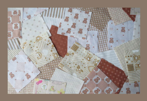 Value! Nursery fabric Patchwork squares 4 x 4 ins Beige and brown 25 or 50