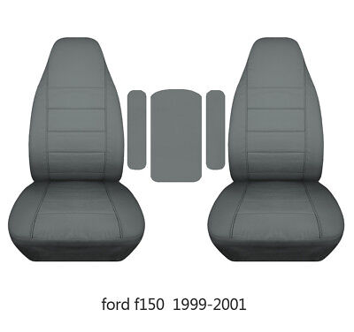 Fits ford f150 99-2014 car seat covers black-steel gray fr buket seats+lid cover