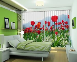 3D-Red-Tulips-2-Blockout-Photo-Curtain-Printing-Curtains-Drapes-Fabric-Window-AU