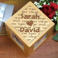 Personalized Valentines Day Photo Cube I Love You Couples Picture Frame Cube