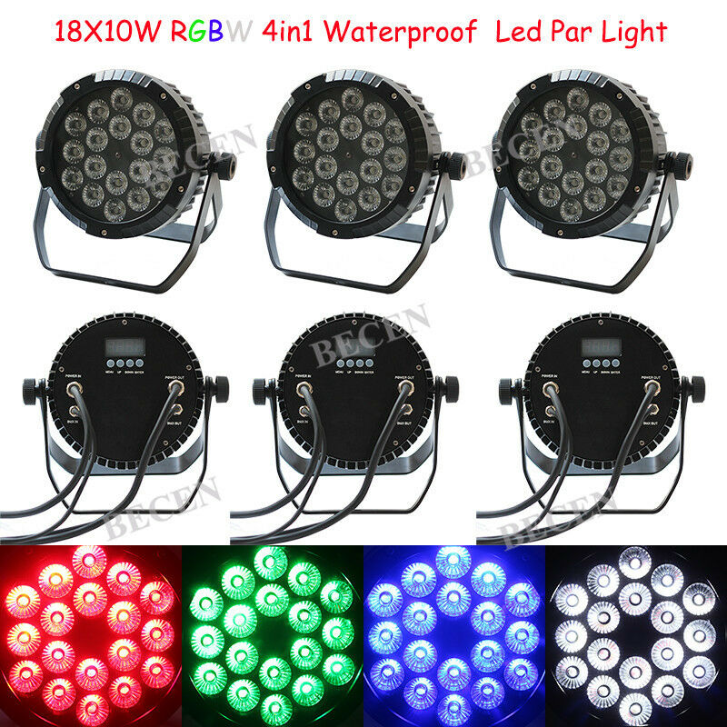 18x10W Led Par Lights IP65 RGBW 4in1 Outdoor Par Can Lights 6pcs