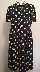 ST-MICHAEL-vintage-Dress-Size-14-Summer-Holiday-Casual-Spot-Print