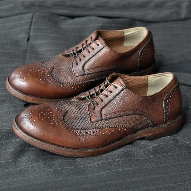 Men Round Toe Lace up Leather Brogue Business Wing Tip British Style shoes size