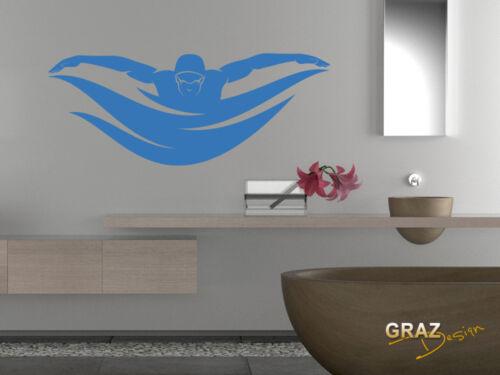 Wandtattoo für Jugendzimmer Sticker Sport Fitness Schwimmer Sportart