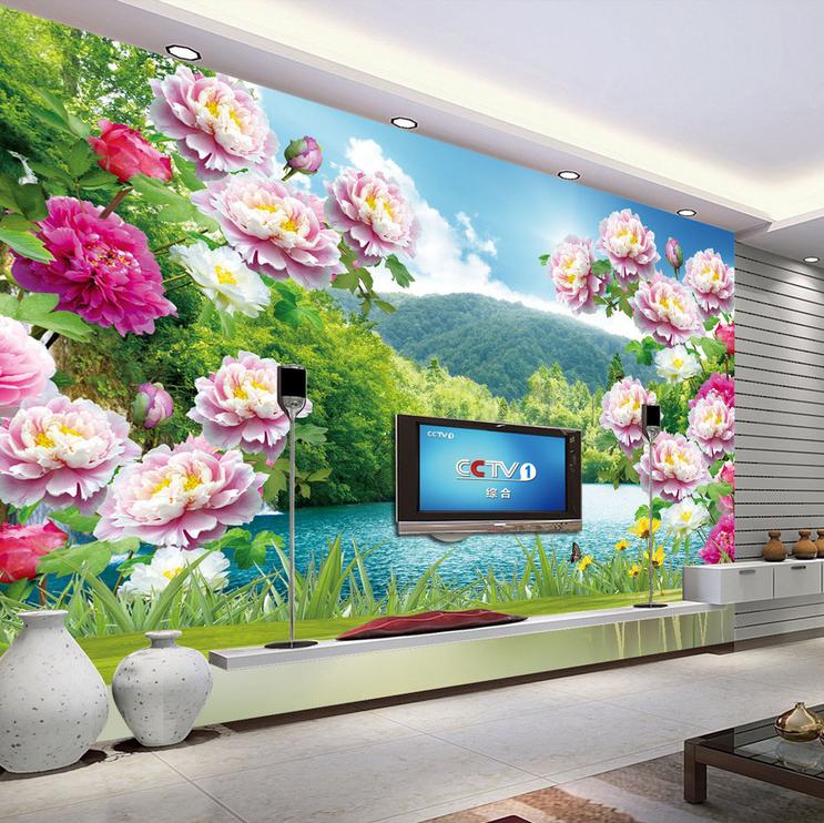 3D Peony Lake 687 Wallpaper Murals Wall Print Wallpaper Mural AJ WALL UK Lemon