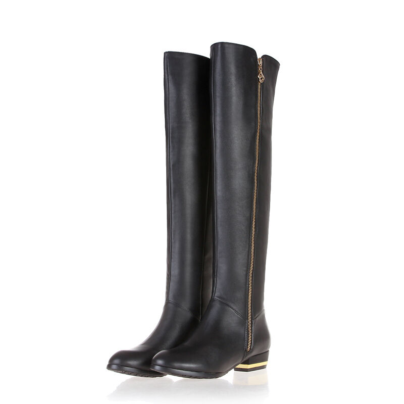 Ladies Shoes Genuine Leather Low Cuban Heels Zip Up Over Knee Boots US Size b951