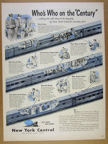 1945 NYC New York Central Railroad train car cutaway view art vintage print Ad