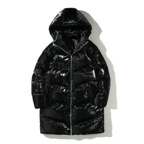 Men Long Metallic Puffer Down Coat Padded Parka Quilted Jacket Loose Shiny
