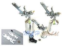 4 Pcs Hvlp Stainless Spray Gun Gravity Feed Air Paint Painter Sprayer Regulator
