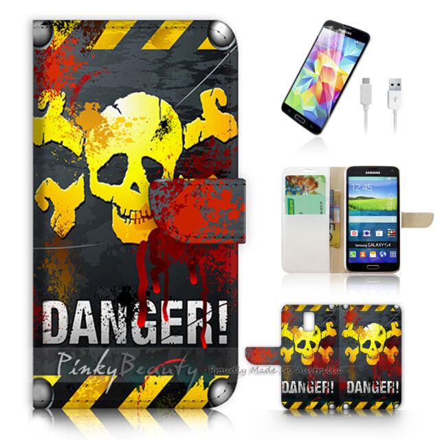 ( For Samsung S5 ) Wallet Case Cover Danger Skull P0458
