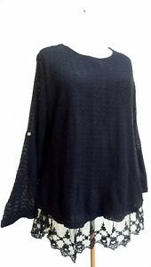 Lagenlook-Boutique-Style-2xLayer-Lace-Knit-Top-Black-SIZES-18-20-amp-20-22