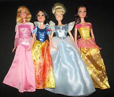 Disney Princess Barbie Dolls Lot of 4 Aurora Snow White Cinderella & Belle Xlnt!