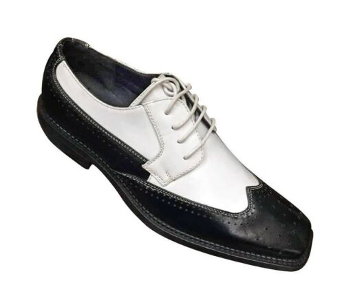 Men/'s Two-Tone Wing-Tip Oxfords Man-Made Leather Dress Shoes #5753