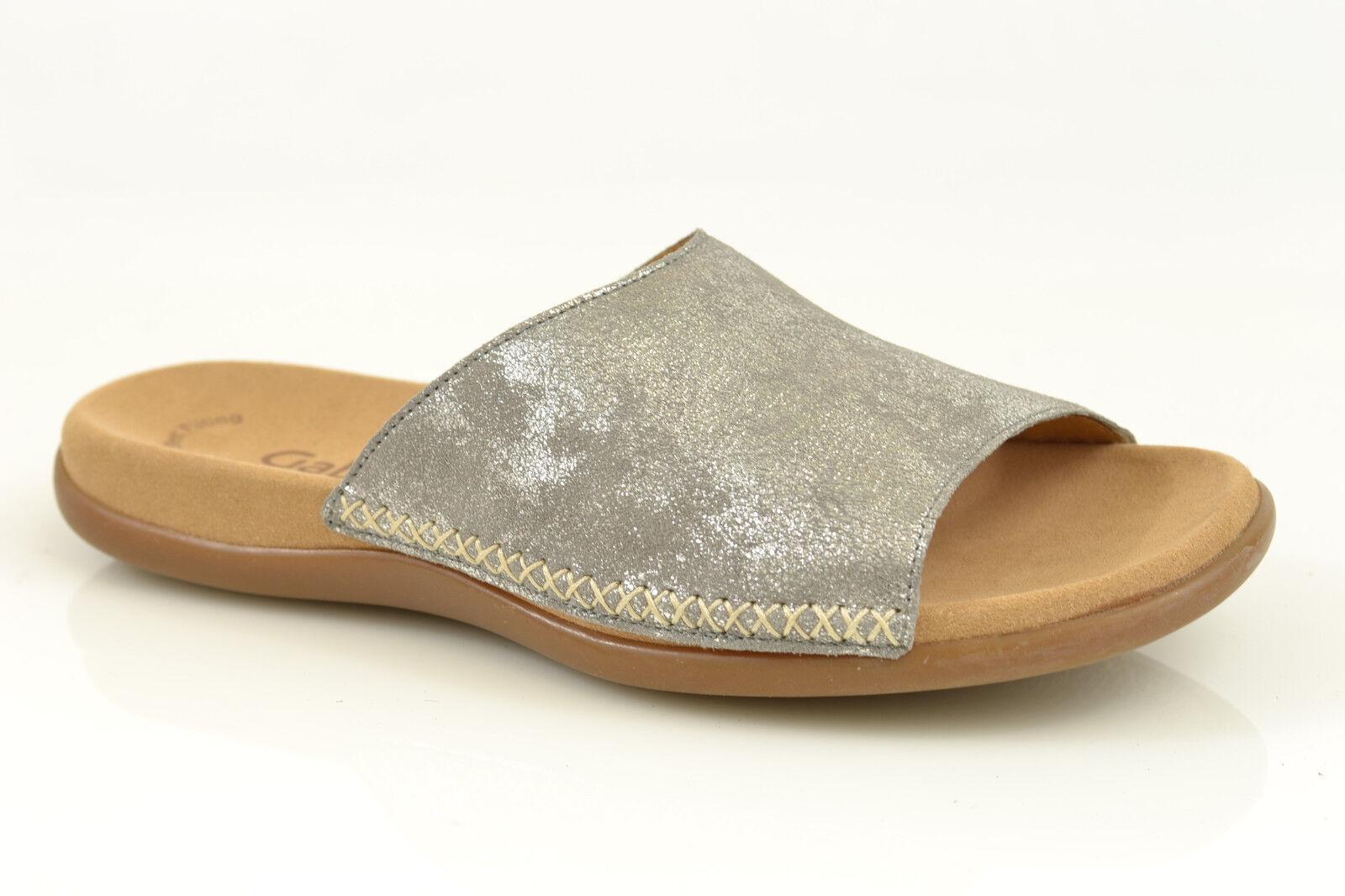 Gabor sandalia es es es zapatos de plata metálica nuevo cuero lecho 63.705.60 rojouce 472642