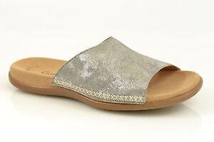 Das Bild wird geladen Gabor-Pantolette -Schuhe-silber-metallic-NEU-Leder-Fussbett- 16682a07b3