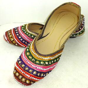 abeccac7bb820 Image is loading Women-mojari-jutti-slippers-traditional-sandals-multi-shoes -