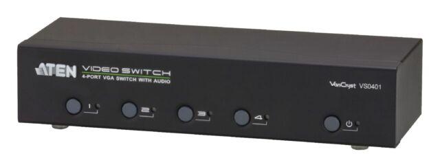4 Porte switch VGA Con Supporto Audio Nero