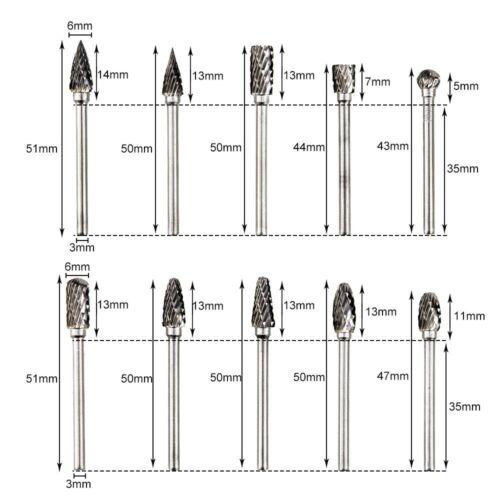 Premium Tungsten Steel Carbide Rotary Burr Set NEW