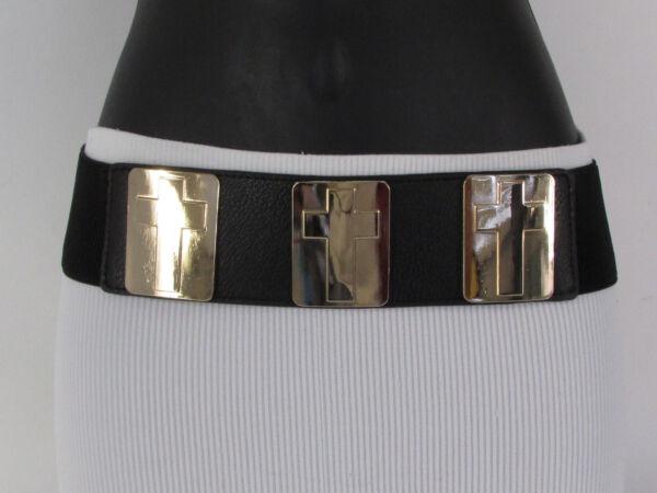 100% Verdadero Dorado Para Dama Metal Cross Charms Cuadrado Ancho Moderno Cinturón Elástico