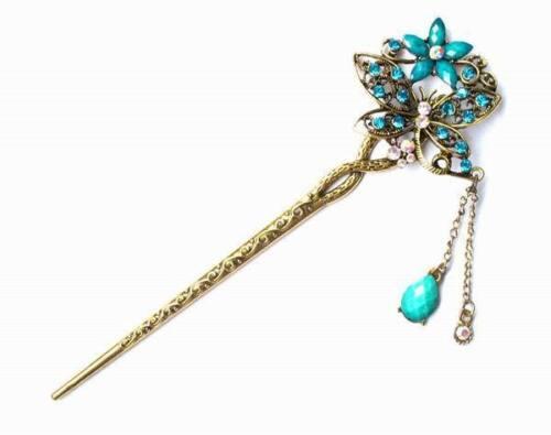 GEISHA ASIAN BEAUTY CRYSTAL DRAGONFLY FLOWER KITSUNE FOX PRINCESS HAIR STICK PIN