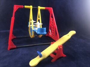 Details About Vintage Acme Thomas 2 Seat Swing Set Horses Ideal Renwal Teeter Totter Red Blue