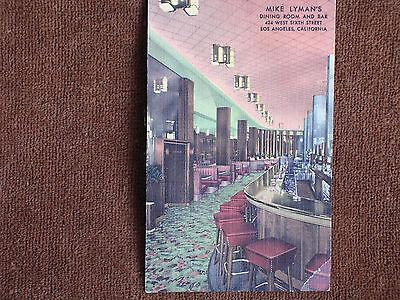 Los Angeles CA/Mike Lyman's Grill & Bar/Art Deco Interior/Linen Postcard/Unused