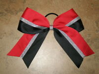 red & Black Metallic Mini Cheer Bow Pony Tail 2 Inch Ribbon Cheerleading