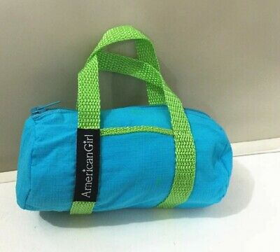 American Girl Doll Modern Dance Outfit Bag Yoga Turquoise Blue Duffel Green Gym