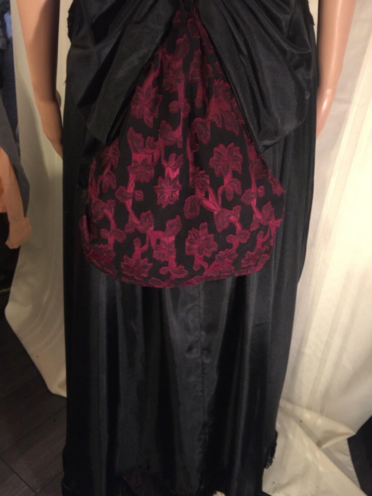 Victorian Black & Burgundy Western Bustle Dress S… - image 7