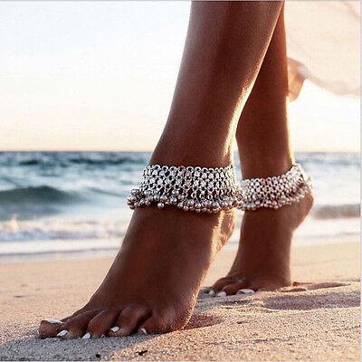 Ethnic Anklet Silver Bell Tassel Gypsy Festival Bracelet Foot Barefoot Jewelry