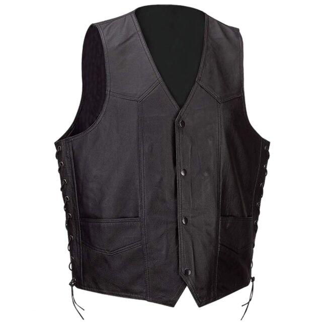Men's Motorcycle Biker Concealed Carry gun pocket  Leather Vest
