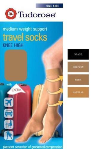 Ladies Women Knee High Travel Flight Socks Medium Weight Support U.K 4-7