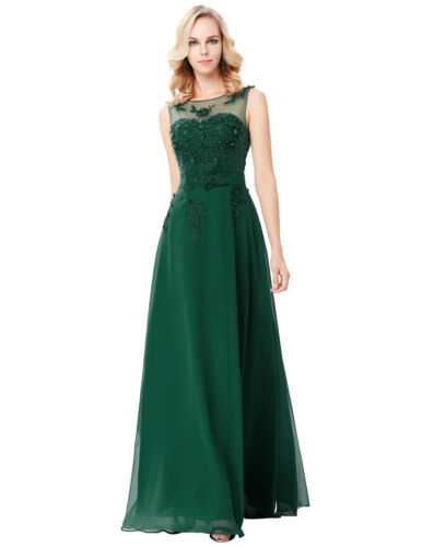GRACE KARIN 1950S Chiffon Lace Evening Party Ball Gown Long Bridesmaid Dresses