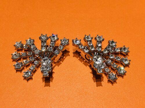 Arnold Scaasi Silver Tone Crystal Fan Earrings - image 1