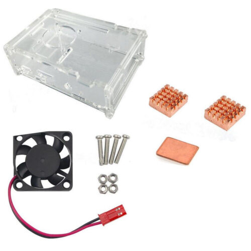 Cooling Fan Copper Heatsink Kit for Raspberry Pi 3 Model HK Clear Acrylic Case