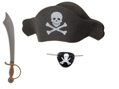Kit de déguisement pirate 3 accessoires: Chapeau + Bandeau + Épée  KV-67