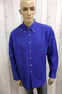 FAY-Uomo-Taglia-XL-Camicia-Blu-Cotone-Regular-Fit-Shirt-Casual-Manica-Lunga