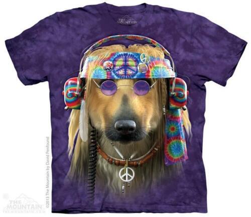 3785 Groovy Dog 1960/'s Hippie Peace Headphones The Mountain T-Shirt All Sizes