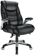 Realspace Torval Big And Tall Bonded Leather High Back Sporty Chair Blacksilv