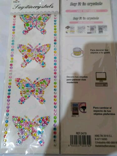 BUTTERFLY Self Adhesive Diamante Sticker DIY Craft Crystals Sticky Rhinestone