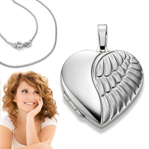 XXL Foto Medaillon Engel Flügel Herz Amulett Bilder Anhänger Silber 925 Kette