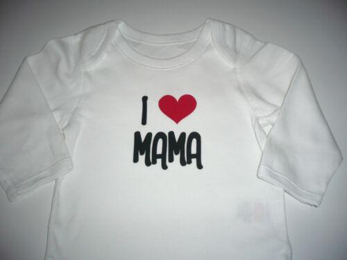 Gr.50-92 Langarm Body weiß I LOVE MAMA I LOVE PAPA Papa Ich liebe Mama