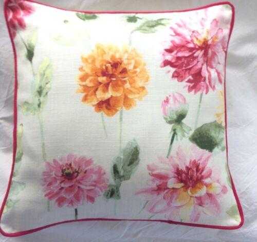"Laura Ashley Dahlia Parade Pink Grapefruit Cushion Cover Piped 16"""