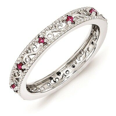 Silver Stackable Ring Round Created Ruby Stones, July Birthstone Jewelry QSK1488